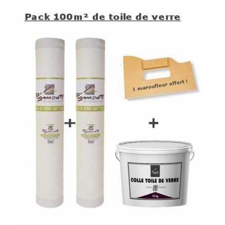 Pack Toile de verre maille standard 100m² + colle